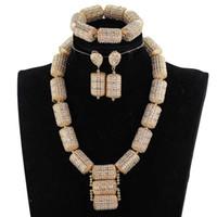 دبي الذهب والمجوهرات مجموعات للنساء 2018 هدية الزفاف النيجيري الزفاف الخرز الأفريقي مجوهرات مجموعة مكتنزة قلادة قلادة WE200