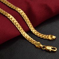 Collana di catene di lusso placcata in oro 18k 5mm per uomo Donna Moda Collana di collegamento di gioielli di lusso Accessori regalo di Natale 20 pollici