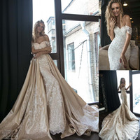 2018 Mermaid Wedding Dresses Overskirts Staccabile Train Off Shoulder Corpetto pesantemente appliquato Abiti da sposa Custom Made