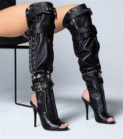 Yeni Tasarım Kadın Moda Burnu açık Siyah Deri Fermuar Tasarım Diz Yüksek Çizmeler Çıkarılabilir Uzun Yüksek Topuk Motosiklet Çizmeler Tokaları Çizmeler