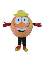 2018 Hochwertiges heißes orangefarbenes Maskottchen mit gelbem Hut für Erwachsene zum Verkauf