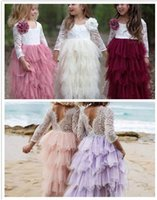5pcs girl Lace Dress Flower Tiered Tulle Maxi Dress Long Sle...