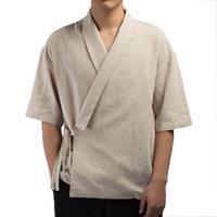 2018 camisa para hombres Kimono japonés Harajuku para hombre camisa de lino Retro Origen Streetwear Cardigan Outwear Tradicional Puntada Abierta Camisas