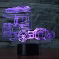 Schwere LKW Form Beleuchtung 3D Schreibtischlampe 7 Farben ändern Kinder Nachtlicht # R54