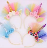 Baby-Stirnband-Mädchen Blumen-Schein-Einhorn-Partei-Haar-Haken-Haarband für Kinder Prinzessin Geburtstag Fotografie Haarschmuck 14021