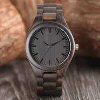 Creative Full Natural Wood Watch Handmade Ebony Wooden Novel...