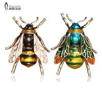 곤충 꿀벌 여성을위한 브 로치 여자 꿀벌 쥬얼리 선물 골드 컬러 옐로우 그린 에나멜 브로치 쥬얼리 범블 비