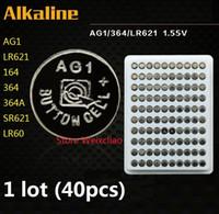 40 stücke 1 los AG1 LR621 164 364 364A SR621 LR60 1,55 V Alkaline Knopfzelle münzen akkus tray paket Kostenloser Versand