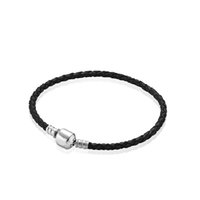 100% Real Black Leather Woven Mens Charm Bracelets for 925 S...