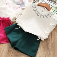 Sweet Kids Girls Ruffles Summer Outfits Ruffles Tees and Shorts 2pcs Sets Candy Pink and Green Color Clothing