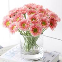 6cm 헤드 인공 Gerbera 데이지 꽃 태양 꽃 홈 장식 웨딩 파티 생일 GA204을위한 꽃다발
