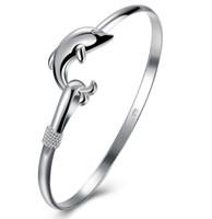 925 серебристый 10 шт. / Лот Очарование продукта Классический дельфин открыть регулируемые браслеты браслеты античный 925