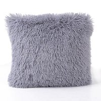 Soft Plush Square Cushion Cover Solid Waist Throw Pillow Cas...