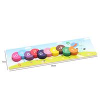 Brinquedo de madeira Do Bebê Piercing Puzzle Montessori Tangram Jigsaw Board Rainbow Lagartas Beads Bauble Crianças Brinquedo Educacional Precoce