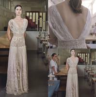 Lihi Hod Boho robes de mariée en dentelle col en V à mancherons de plage Robes de mariée élégante Pays Bohême Robe de mariée A-ligne Robe de Novia