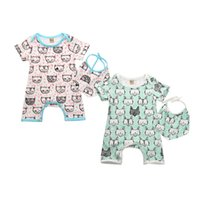 Animal baby rompers with bibs boys girls cotton fox jumpsuit...