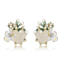 wholesale Enamel Green Flowers Stud Earrings For Women Girl ...