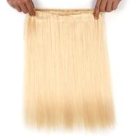 """뜨거운 새로운 브라질 버진 머리카락 똑바로 백금 금발 인간의 머리카락 weft 연장 16 """"18""""20 """"22""""24 """"3pcs 많은 무료 배송"""