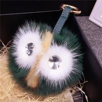 الطيور البومة الشعر الكرة قلادة المفاتيح سيارة المفاتيح الذئب شعري قلادة حقيبة الديكور