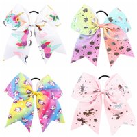 8 in Unicorn Hair Bows Grosgrain Unicorn Jojo Bows Cheerlead...