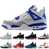 Cheap 4 4s Men Basketball Shoes Motosports Blue Fire Red Whi...