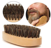 Щетка для бороды с усами и натуральной щетиной из хряка с круглой ручкой для лица для лица и волос на лице