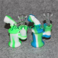 Mini silikon Bongs Kleine Dab brenner Pfeife Bubbler Pfeifen Hohe Qualität Oil Rigs silikon Wasserpfeife mit glas Schüssel