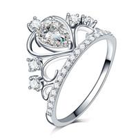럭셔리 스톤 화이트 골드 도금 반지 여성 소녀 우아한 925 스털링 실버 크리스탈 웨딩 선물 쥬얼리 손가락 반지