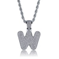 New Hot Sale Silver Color 26 Letters Bubble Letter Pendant N...