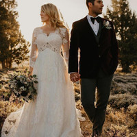 Elegantes vestidos de novia de encaje con cuello en v manga larga imperio de cristal más el tamaño de vestidos de novia Vestidos de novia de maternidad barrer el tren