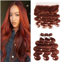 Pakiety włosów kaszturowe z koronki z przodu europejskiej dziewiczej włosów rozszerzenie # 33 miedzi czerwony koronki koronki czołowe z wiązkami 4 sztuk / partia