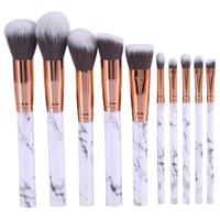 ¡STOCK! 10 unids / lote Pinceles de Maquillaje de Mármol Profesional Sistema de Cepillo de Maquillaje Suave Pincel de Maquillaje de Belleza Maquillaje de Mármol Herramientas Envío Gratis