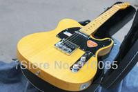 شحن مجاني تيلي الغيتار عالية الجودة مخصص 52 الأصفر تيلي غيتار كهربائي ameican ساندارد المذيع مع hardcase للبيع