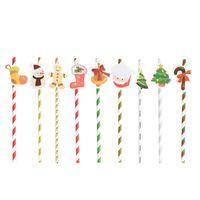 10 unids 1 lote Navidad Paja de papel Feliz Navidad Suministros para fiestas de bricolaje Pajas de beber Fiesta Evento Proveedores Paja