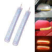 2PCS LED 자동차 전원을 켜고 신호등 자동 백미러 표시 램프 소프트 깜박임 FPC 유니버설 노란색 9 SMD 황색 광원
