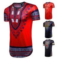 Afryka Totem Drukuj Bandana T-Shirt Moda Krótki Rękaw Folk-Custom Geometryczne Koszula Męskie Dorywczo Hip-Hop Topy 2018 Gorąca Sprzedaż Man Odzież