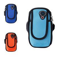 Brazalete de alta calidad atado para llevar al aire libre que ejecuta el teléfono móvil impermeable bolsa de tela de nylon Cremallera doble diseño brazalete luz 6 5wz Y