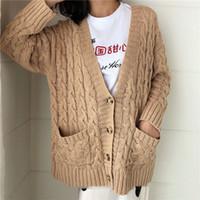 Sweaters pour femmes Câble de couleur Camel Trains de Col V-Col Veste Surdimensionnée Cardigan Veste à manches longues à manches longues Big Pockets Femme Twisted