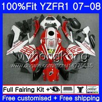 Corps d'injection pour YAMAHA YZF R 1 YZF-1000 YZF-R1 07 08 227HM.42 YZF 1000 YZFR1 07 08 YZF1000 YZF R1 cadre rouge brillant 2007 2008 Kit carénage
