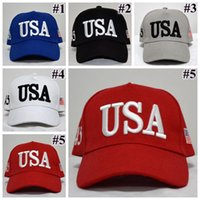 5 Colors USA Flag Ball Cap Unisex Fashion Adult Adjustable D...