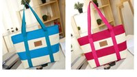 50pcs 2018 New Arrival Beach Bag Canvas Brief Women Stripe H...