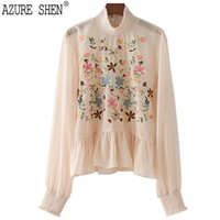 [AZURE SHEN] New Spring 2018 fashion tide stand collar embro...