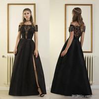 Sexy fora do ombro preto vestidos de noite 2018 laço applique miçangas backless split plus size vestido de baile desfiladeiro rouba de soirée