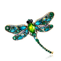 Vintage Colorful Crystal Rhinestone Dragonfly Brooches for W...