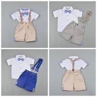 INS Baby Boy Kleidung Sets Herren Bögen Hosenträger Outfits Kinder Sommer Kurzarm Tops Hosenanzug Designer Performance Kleidung YL776
