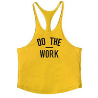 Marca Fitness Chaleco Gyms Ropa Singlet Y Volver Tank Top Hombre Stringer Canotta Bodybuilding sin mangas DO THE WORK Muscle Tanktop