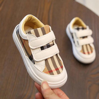 Toddler girl shoes Grid Spring autumn skid shoes Hook & Loop...