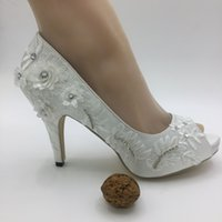 Handmade Women Ivory lace Drill Ribbon high heels wedding sh...