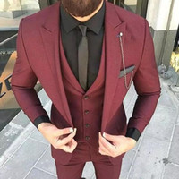 Slim Fit 2018 Burgundy Groom Tuxedos Hombres Excelentes, Boda, Tuxedos, Hombres de alta calidad, Formal, Negocio, Fiesta, traje de fiesta (chaqueta + pantalón + corbata + chaleco)