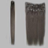 Зажим для наращивания человеческих волос 8 шт. / Набор для наращивания пепельных светлых волос 100 г / В комплекте серый зажим для наращивания волос